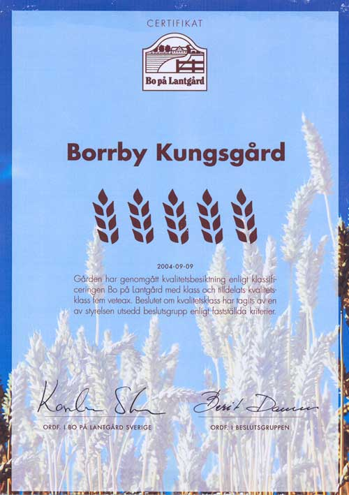 Borrby Kungsgård kvalitetscertifikat